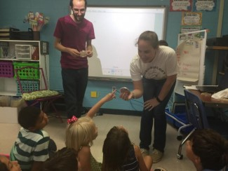 A team of graduate students and Dr. Jennifer Walker visited the second grade classes of Malcom Bridge Elementary School